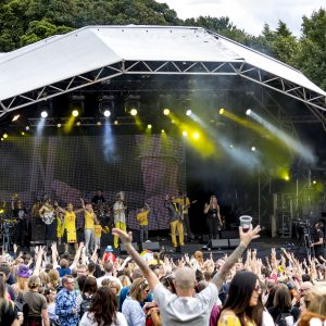 Colonel Mustard and the Dijon 5performing at Party At The Palace Music Festival in Linlithgow Palace grounds on Sat 11th August 2018.